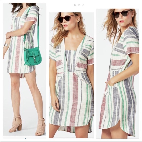 fa657e6140b NWT JustFab Striped Linen Shift Dress